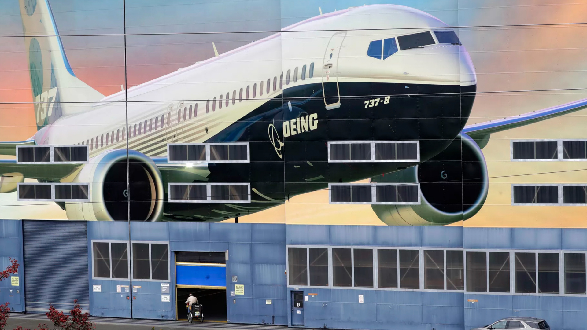 Aircraft painted lifesize on hangar door
