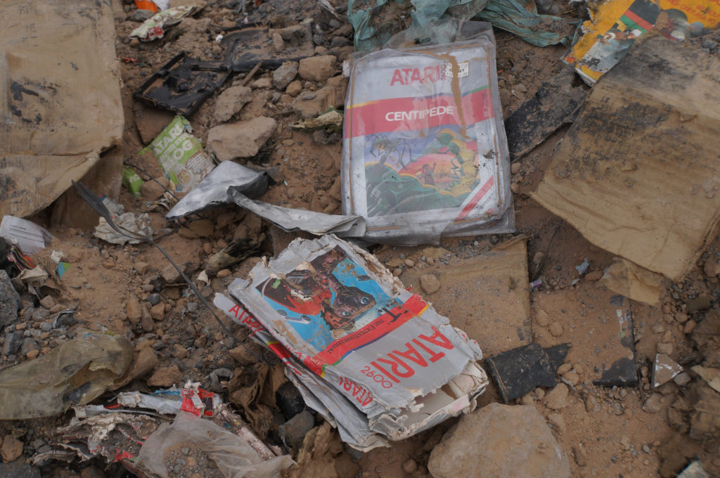 Cartridge sleeves found at the Atari landfill © 2013 Taylor Haymaker.  All rights reserved.