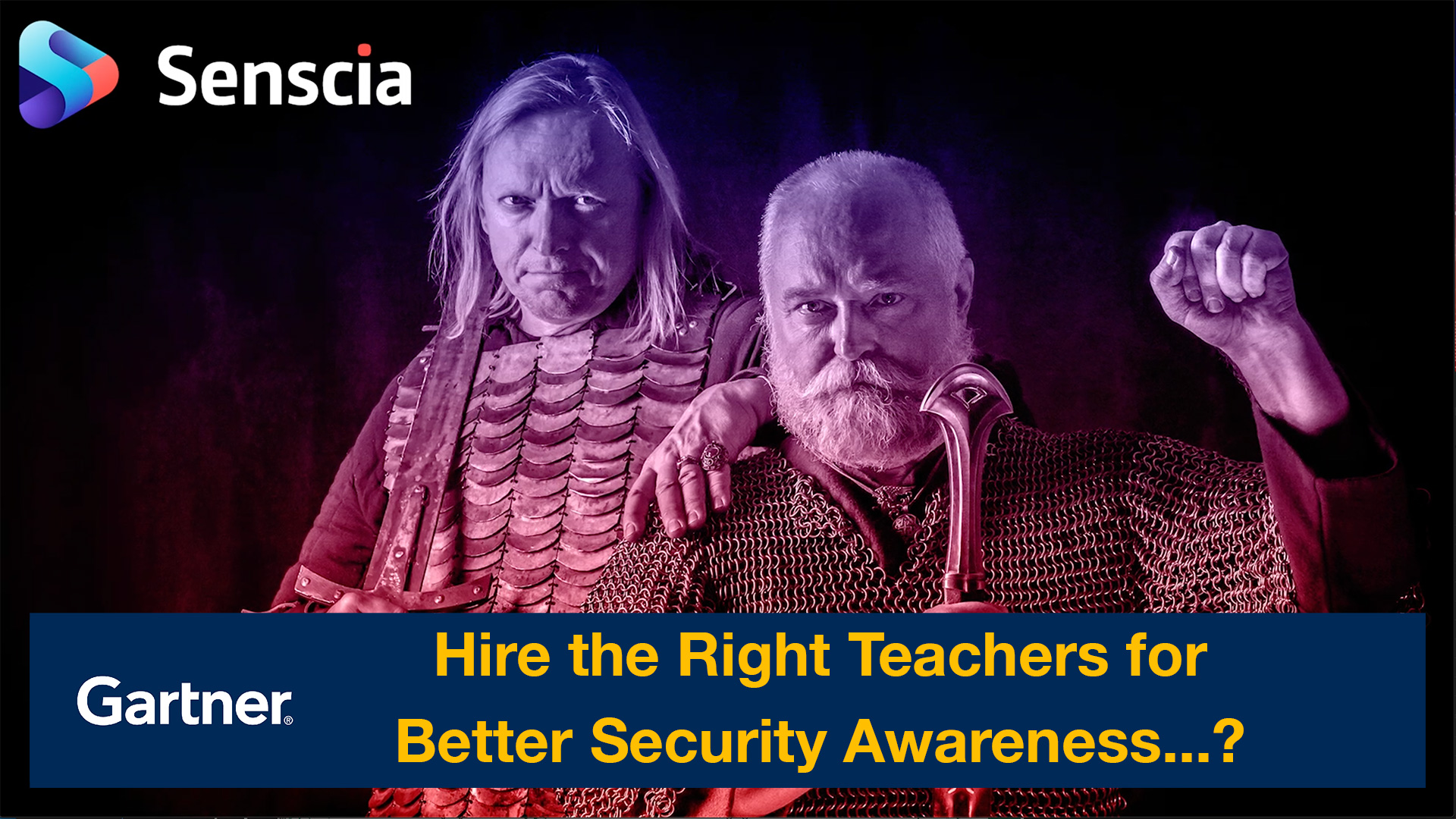"Two medieval knights. Gartner logo with the title ""Hire the right teachers for better security awareness...?"""