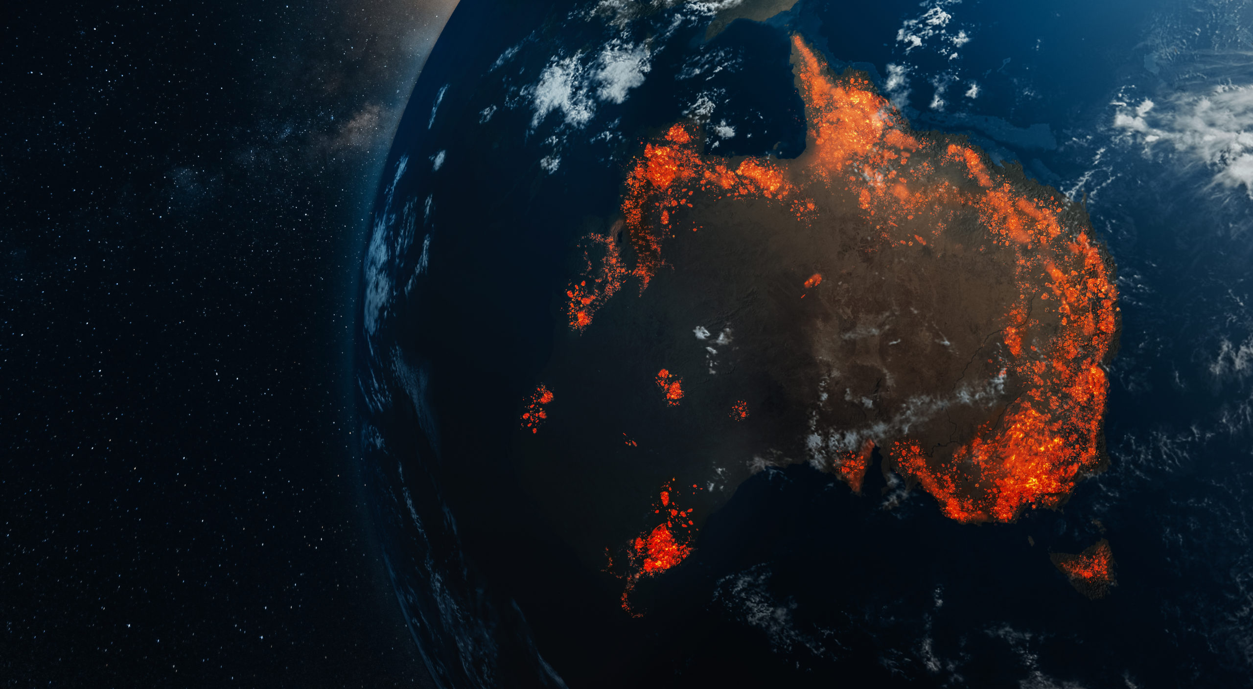 3D illustration of Earth with parts of Australia engulfed in flames.